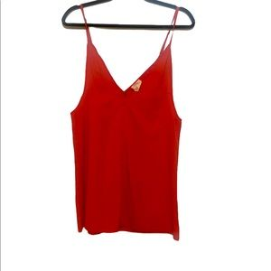 Free People Red spaghetti straps v neck camisole.